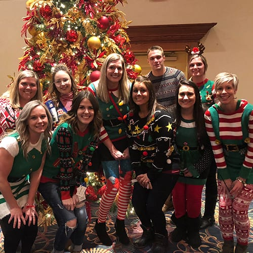 Staff Wearing Ugly Xmas Sweaters